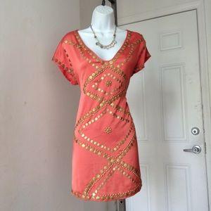 Black Peach Gold Stud Silk Mini Dress Tunic
